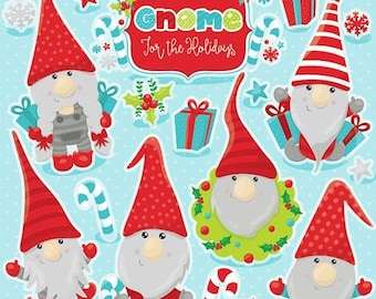 80% OFF SALE Christmas gnomes clipart commercial use,  vector graphics,  digital clip art, digital images  - CL1039