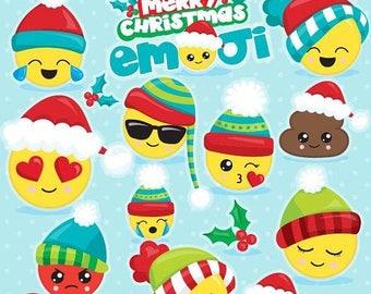 80% OFF SALE Christmas emoji clipart commercial use, emojis clipart, vector graphics, emoji digital clip art, Christmas emojis - CL1119