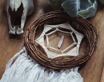 Clear Crystal Point Dreamcatcher - Geometric Art - Boho Dream Catcher - Gypsy Decor - Wallhanging -