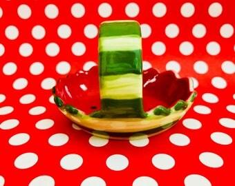 Ceramic Watermelon Basket Trinket Ring Jewelry Holder Dish