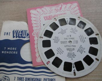 Vintage, Antique Viewmaster reels - Fairy Tales -The Three Little Pigs - 948 - FT-7- No longer produced - from collection of over 100 reels.