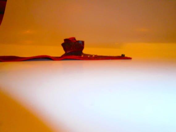 Red rose bracelet, Genuine leather bracelet, 3D rose bracelet, handmade bracelet, gift for her, leather rose