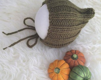 Khaki green baby elf bonnet 6 to 12 months autumn fall sitter photography prop RTS woodland leaves forest pumpkin elf pixie bonnet hood hat