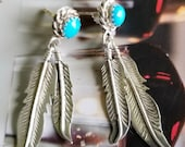 Sterling Silver Feather Dangle Earrings with Turquoise Accents (st - 2250)