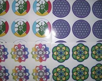 set of 10 small full colour vinyl stickers 5cm