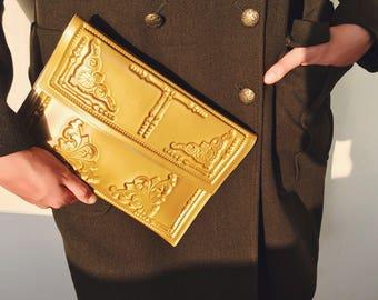Vegan envelope clutch / gold color clutch purse / designer evening bag / standout designer bag / gold envelope clutch /  gold vinyl pattern