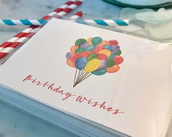 Balloon Birthday Wishes Card Set of 10