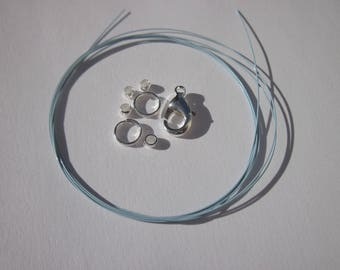 1 meter of cable wire-wrapped, ring, clasp, crimps (K20