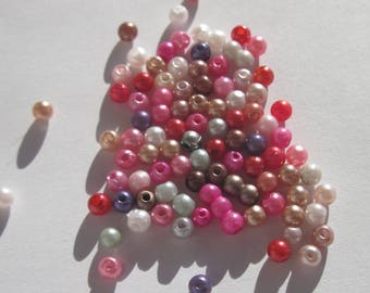 100 round beads in mixed colors acrylic 4 mm (4 beads)