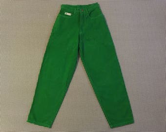 1990's, Cross Colours, velvety jeans, in green, Boys size 16, Women's size Small