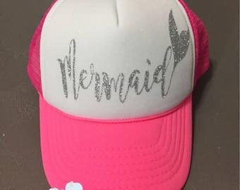 Youth/kids neon pink trucker hat with mermaid written in silver glitter