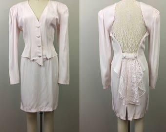 Vintage 80s ZUM ZUM Pale Pink Mini Skirt and Top Set w/ Lace Back S