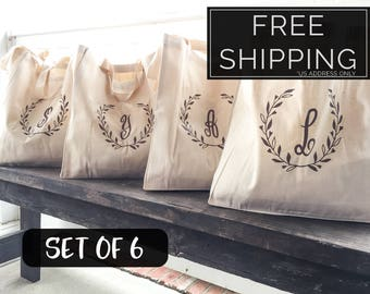 Set of Personalized Bridesmaid Tote Bags, Monogrammed Bridesmaid Gift, Rustic Canvas Tote Bags, Wedding Bridal Party Totes, Laurel Wreath