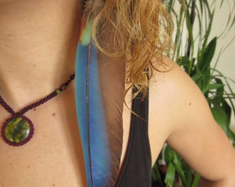 Single Long Blue Feather Earring with natural feathers and seed 20cm