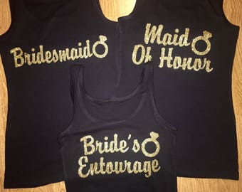 Bachelorette Party Vinyl Decals ,  Bridesmaid Iron Ons , Gold Glitter Vinyl transfers , Bride's Entourage with Ring Hot Fix , maid of honor