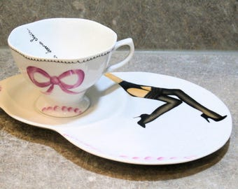 made TO order - glamour legs mug cup - handpainted porcelain