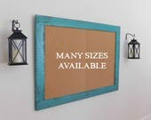 FRAMED MESSAGE BOARD Cork Board Bulletin Board Memo Board Distressed Wood Shown in Turquoise 36x48 More Colors Available