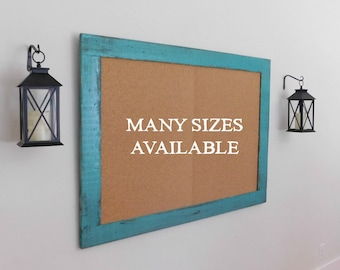 36 x 48 FRAMED CORK BOARD - Message Board - Rustic Farmhouse Decor - Distressed - Shown in Turquoise - 36 x 48 - More Colors Available