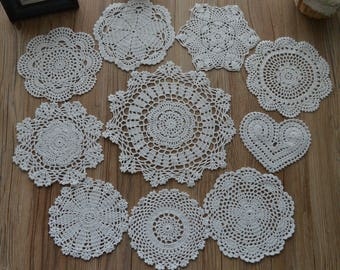 Lot 10 Hand Crochet Assorted White Round Doilies Mixed Set Cotton Victorian Snowflake Pineapple Floral Heart Wedding Coasters French Country