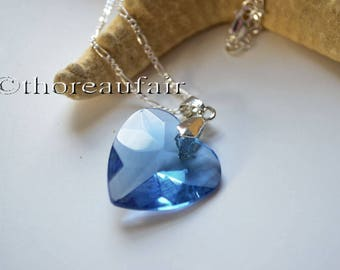 Blue Heart Necklace - Handmade Jewelry - Valentine's Day Gift