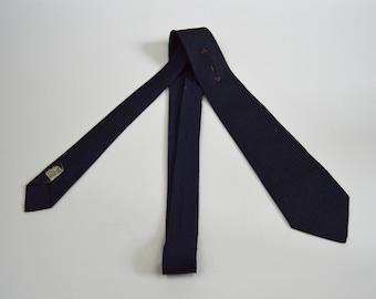 Vintage 1950s/1960s Navy Blue with Fleur De Lis Type Design Necktie