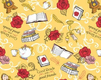 Back in Stock - Beauty and the Beast Friends Yellow BTY camelot Fabric