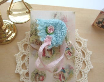 dollhouse doll bonnet embroidered 12th scale miniature fit baby doll nursery shop ooak