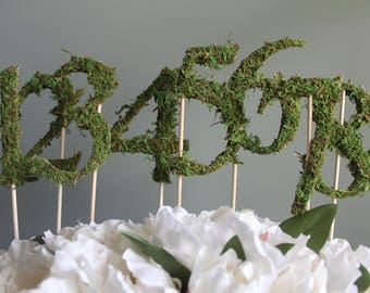 Moss Wedding Table Numbers | Moss Wedding Decor | Wedding Centerpiece Number | Table Numbers on a Stick | FREE SHIPPING