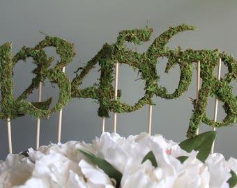 Moss Wedding Table Numbers | Moss Wedding Decor | Wedding Centerpiece  Number | Table Numbers On