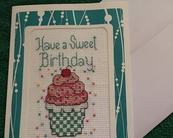 Completed Cross Stitch Birthday Cards - Handmade