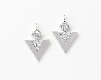 3394052 / Inverted Triangle / Rhodium Plated Brass with CZ Pendant 11mm x 16.5mm / 0.9g / 2pcs