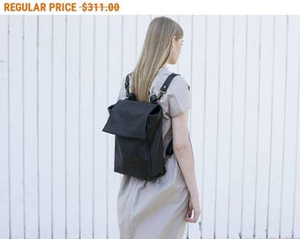 Sale, Black Leather Zipper Tote, Laptop Leather Purse, Shoulder Leather Bag Backpack, Women Work Bag, Hand Made Bag