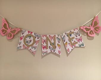 Butterfly Banner, Butterfly Sign, Butterfly Birthday Banner, 1st Birthday.