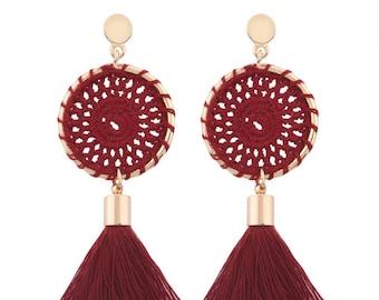 Garnet dream catcher earrings