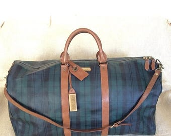 20% SUMMER SALE Genuine vintage Polo Ralph Lauren iconic green plaid canvas and leather duffle travel bag XL