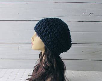 Navy Blue Chunky Warm Beret Teen and Ladies Warm Winter Hat