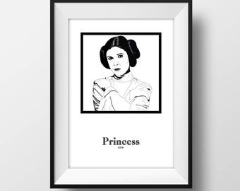 Princess Leia - Carrie Fisher - Illustration with Name - Art -A4 Poster Print