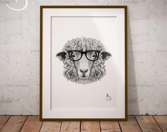 CUTE HIPSTER SHEEP Drawing download, Sheep Wall decor, Hipster Sheep Print, Printable Sheep Poster, Sheep Decor, Hipster Animal Print, Sheep