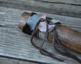 Tribal Rain Stick, Blue and brown, Moon Rainstick, hair on hide rainstick, music maker, music shaker, musical instrument