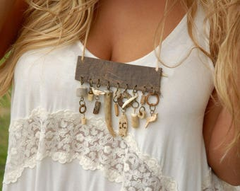 Artifact necklace, Stone bone necklace, Tribal necklace