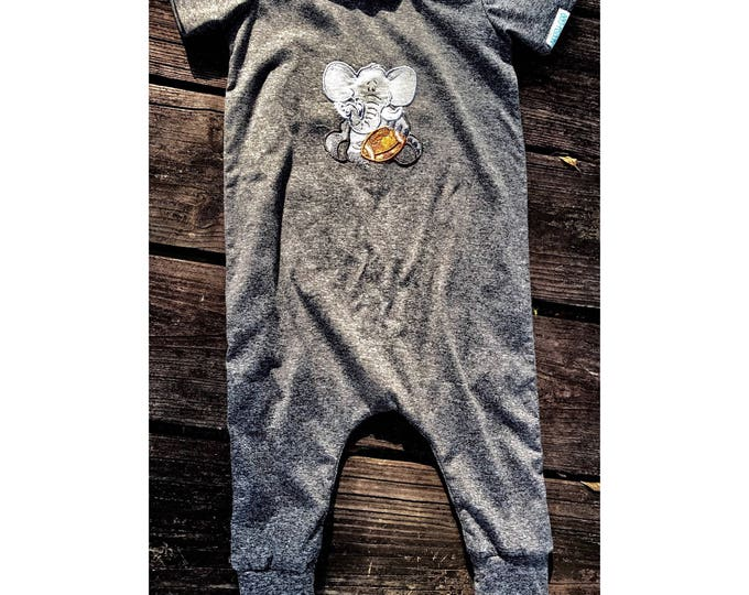 Alabama Spirit Romper/ Alabama Crimson Tide/ Baby Romper / Baby Elephant Appliqué / Crimson Tide A Appliqué/ Alabama/ Request Your Team