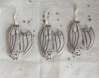Machine Embroidered Spooky Bat Ornament, Set of 3, READY TO SHIP