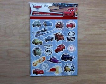 Disney Cars Stickers~2 Sheet Set~Lighting McQueen~Sally~Ramone~Sarge~Flo~Sheriff