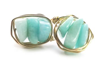 CHIBI stud earrings // Grade A amazonite stud earrings // Gold filled stud earrings // Gift for her