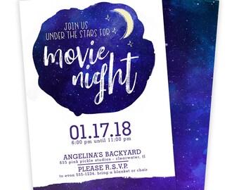 Outdoor Movie Night Invitation, Movie Night Invitation, Movie Under The Stars Invitation, Outdoor Movie Invitation, Movie Invitation | 655