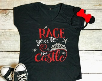Race You To The Castle | Disney Workout Tank | Disney Marathon Tank | Workout Tank | Workout Shirt | Disney Vacation Shirt | Gym Shirt