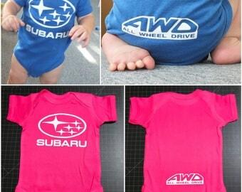 Subaru AWD Pink Baby Onesie