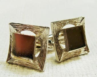 Dante Cuff Links Textured Silver Tone Reflective Squares