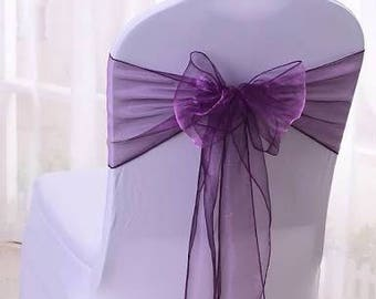 25x Purple Chair Sashes Bow Cover for Wedding Engagement Event Party Reception Ceremony Bouquet