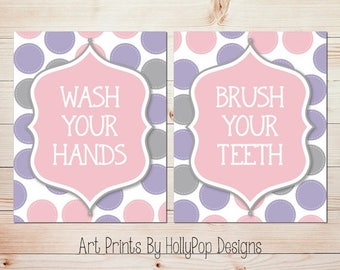 Wash Your Hands Brush Your Teeth Bathroom Manners Wall Decor Art Prints for Kids Pink Purple Gray Decor Bathroom Wall Art Modern Kids Decor